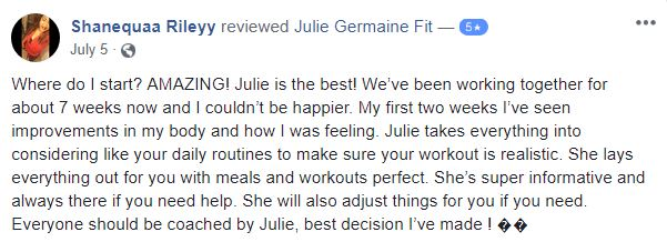 5 Star Client Testimonials for Personal Training